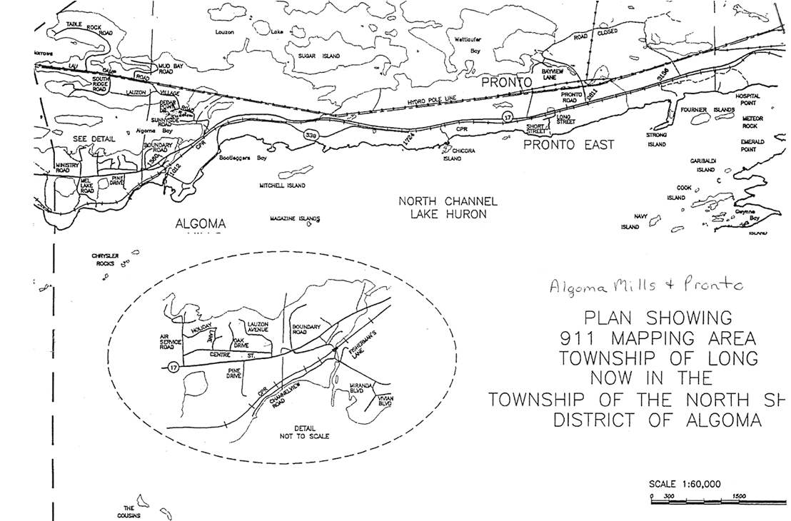 Map of Algoma Mills and Pronto